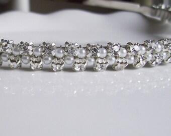 Rhinestone Bridal Headband. Pearl Bridal Headband. White or Ivory Pearls. ANNIKA