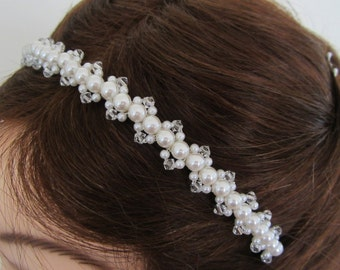 Bridal Headband with Glass Crystals and White or Ivory Pearls---Tatianna