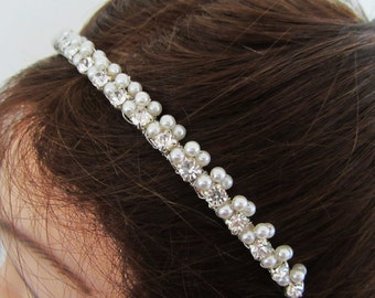 Pearl Bridal Headband with Rhinestones in White or Ivory---Alexis