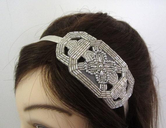Beaded Bridal Headband on Satin Headband ---- Romany