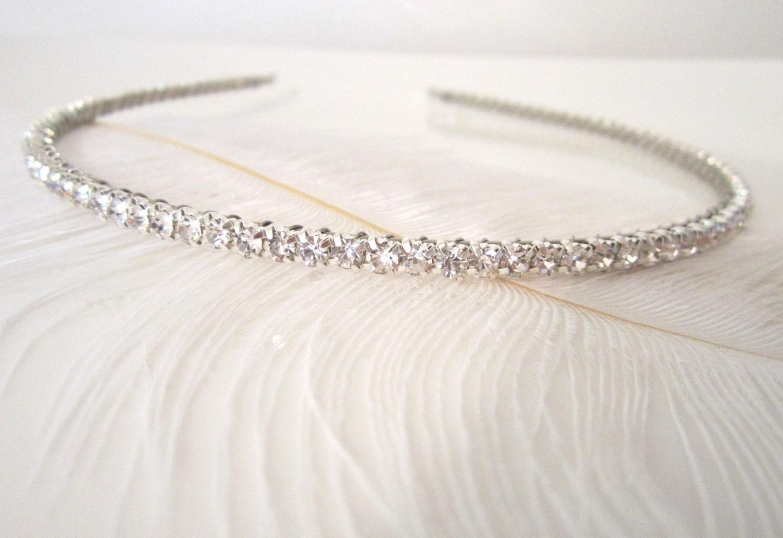Diamond headband for wedding : Narrow bridal headband skinny diamond by