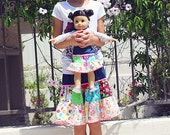 Girls Skirt, ON SALE 3T/4T NuxieMade Denim Patchwork Twirl Skirt -Ready To Ship, Free US Shipping
