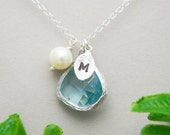 Silver Monogram Necklace, Personalized Initial Charm Necklace, Bridesmaid Gift, Bridesmaid Jewelry, Aquamarine Birthstone, Mother's Necklace