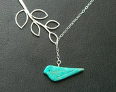 Hand carved Turquoise Bird Necklace, Silver Lariat Necklace, Bird Jewelry, Teal Bird, Bridesmaid Necklace, Mother's Jewelry, Sister, Mom
