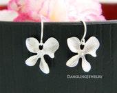 Dainty Orchid Dangle Earrings, Silver Flower Earrings, Flower Girl Gift, Orchid Jewelry, Wedding Party, Bridesmaid Gift, Children Earrings