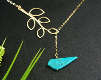 Lariat Blue Bird Necklace, Turquoise Bird Charm Necklace, Bridesmaid Gift, Sister Necklace, New Mom Gift, Mothers Jewelry, Y Necklace
