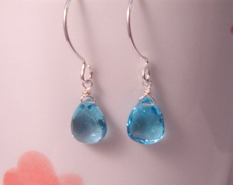 Blue Topaz Earrings, December Birthstone Earrings, SILVER Gemstone Earrings, Dangle Earring, Personalized Bridesmaid Gift, Wedding Jewelry