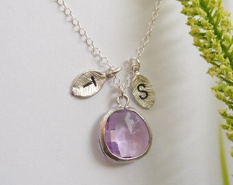 Two Initial Necklace, Hand Stamp Necklace, Birthstone Monogram Necklace, Couple Initial Necklace, Sister necklace, Mother Necklace