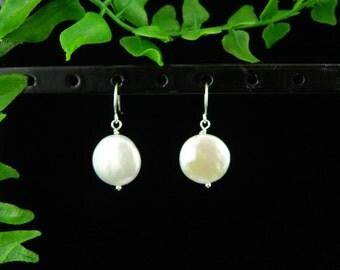 Freshwater Pearl Earrings, Silver Earrings, Bridesmaid Gift, Pearl Dangling Earrings, Bridal Jewelry, Bridesmaid Earrings, Birthday Gift,