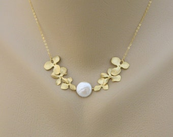 Bridal Necklace, Mothers Jewelry, Orchid Wedding, Coin Pearl, Orchid Necklace, Gold Fill, Bridesmaid Gifts