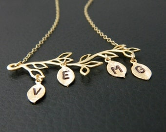 GOLD Four Initial Necklace, Personalized Jewelry, Mothers Day Necklace, Family Tree Necklace, Mothers Necklace, Grandmother, Sister Necklace
