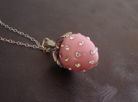 Fruit Necklace - Strawberry Necklace, Fruit Jewelry, Rhinestone, Sterling Silver, Charm Pendant, Fun Jewelry