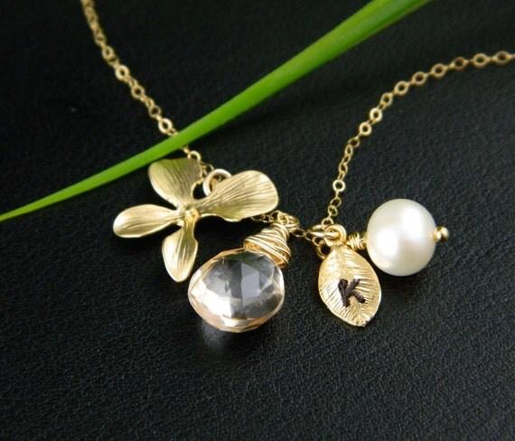 November Birthstone Necklace, Gemstone Citrine Necklace, Mom Jewelry, Bridesmaid Jewelry, Mother of Bride or Groom, Wedding in November