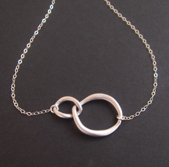 Infinity necklace, Double Circle Necklace, Circle Silver Necklace, Two Circles, Circle Jewelry, Eternal