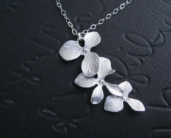 Orchid Necklace, Mothers Day Gift, STERLING SILVER, Bridesmaid Gifts, Wedding Jewelry, Birthday, Mothers Necklace