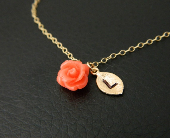 Personalized Flower Girl Necklace, Gold Initial Necklace, Flower Girl Gift, Children Jewelry, Junior, Wedding Jewelry, Kid Name necklace