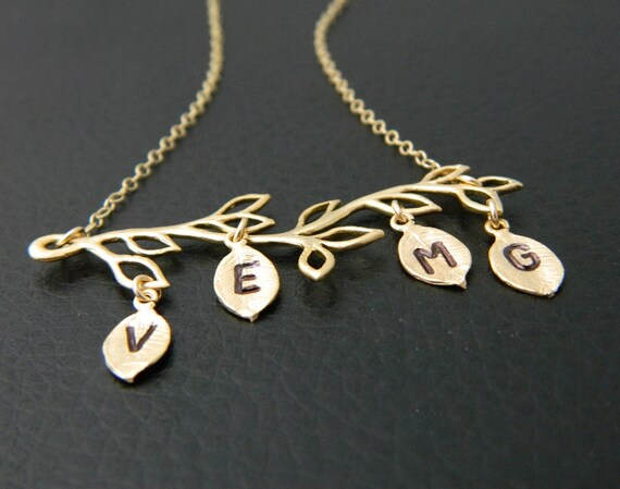 gold four initial necklace personalized jewelry mothers day. Black Bedroom Furniture Sets. Home Design Ideas