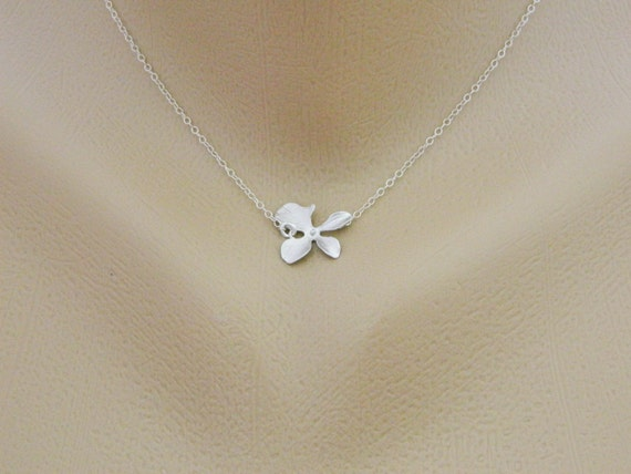 Orchid Necklace, Dainty Necklace, STERLING SILVER Necklace, Wedding Jewelry, Bridesmaid Gifts, Minimal Jewelry
