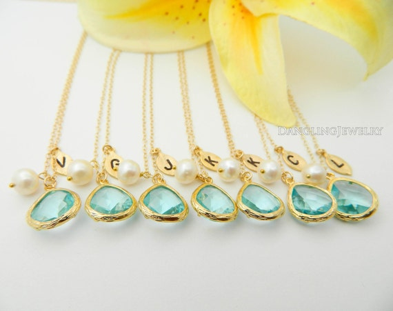 Bridesmaid Jewelry Set 7 Necklaces, Personalized Gemstone Initial Bridesmaid Necklace, Aqua Bridesmaid Gift, Wedding Jewelry, Charm Necklace
