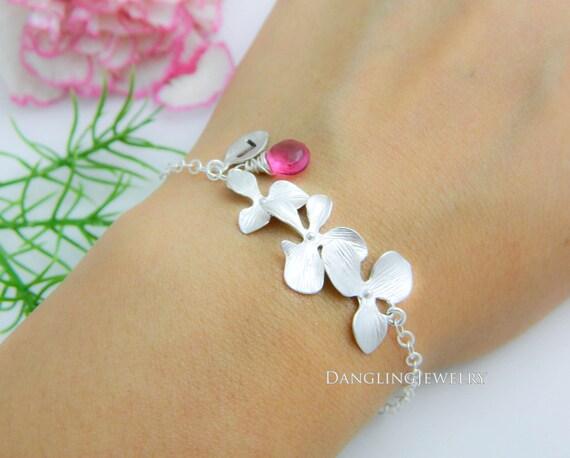 Customize Birthstone Bracelet, Initial Orchid Monogram Charm Bracelet, Bridesmaid Bracelet, Mother, Gemstone, Junior, Bridesmaid Gift