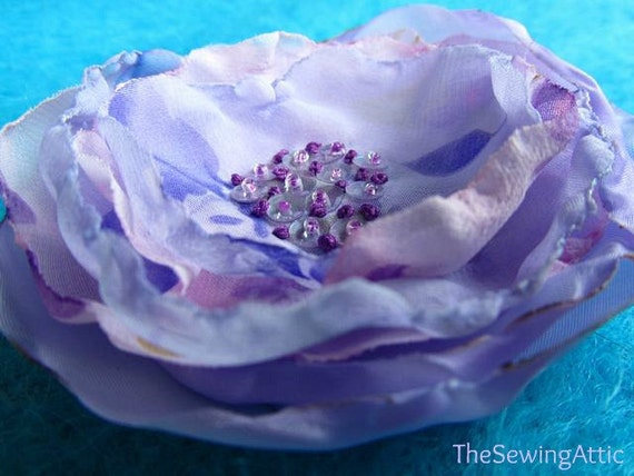 Layered lilac fabric flower brooch/pin with embroidered beaded centre