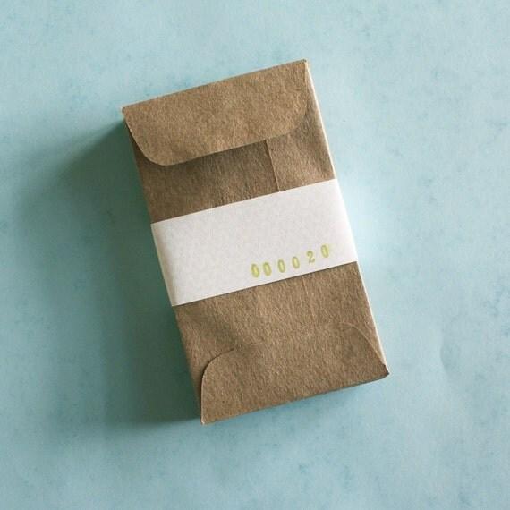 20 brown bag kraft mini envelopes