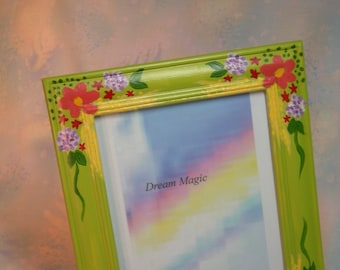 Picture Frame Hand Painted Wooden with Flowers