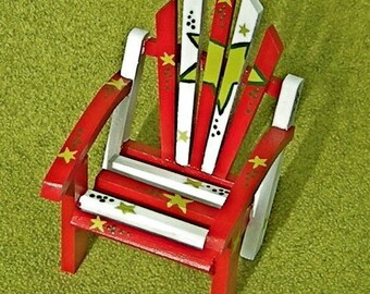 Christmas Doll Chair Hand Painted Red White and Green