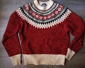 vintage wool indian banket red sweater nation old M S size