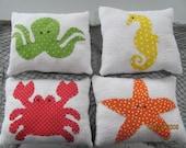 Crab pillow, starfish pillow, seahorse pillow, octopus pillow, beach pillow, cottage decor, beach pillow, beach decor, nursery decor