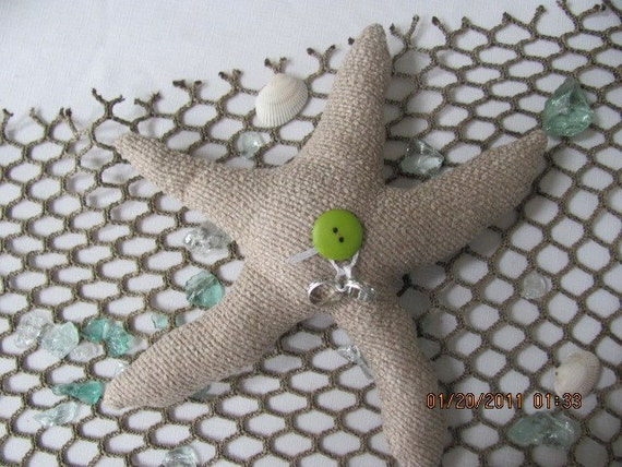 Starfish Shaped Ring Bearer Pillow With Lime Green Button