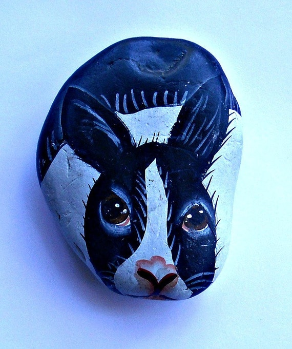 Vintage Handpainted BUNNY- Stone animal for the collector