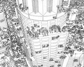 "Downtown Library Tower skyscraper paper print  24""x36"""