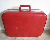 Vintage RED Suitcase, red handle, silver hardware with bold red interior