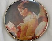 Vintage Pocket Mirror - Lady Reading a Book