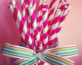 25 hot pink paper straws--with CUSTOM printable tag file