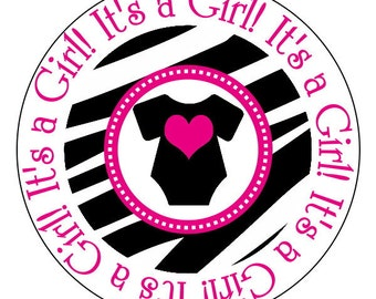 zebra baby shower stickers, hot pink zebra party supplies--now in 2 inch, 2.5 inch or 3 inch round, personalized
