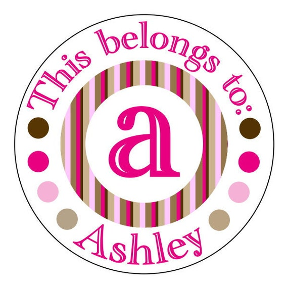 personalized back to school stickers for girls, letter school stickers, pink and brown striped stickers, 3 sizes available