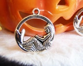 5 silver mermaid charms pendants circle tail ocean sea fantasy fairytale sea monster creature girl woman 26mm x 23mm - C0236-5