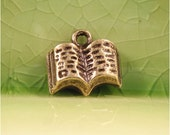 5 bronze book charms pendants literary tiny reading read library text school study college fairytale storybook 12mm x 10mm- C0343-5