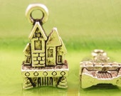 10 silver castle charms pendants 3d puffy princess queen king prince fantasy fairytale 27mm x 11mm - C0361-10
