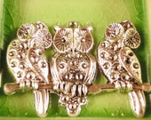 2 silver Owl charms pendants 3 three owls on branch tree nature family birds 57mm x 33mm - C0482-2