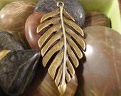 2 bronze banana palm leaf charms pendants leaves flower flowers plants plant tree trees nature 48mm x 24mm - C0564-2