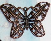 5 copper filigree Butterfly charms pendants butterflies animals bugs insects mother nature wing wings 31mm x 22mm - C0255-5