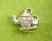 5 silver teapot tea set charms pendants Alice in Wonderland party cup pot saucer double-sided Free Combined Shipping 15mm x 14mm - C0813-5