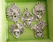 5 different silver girl mask face charms pendants Collection set Mardi Gras masquerade ball party costume burlesque carnivale - P0015-5