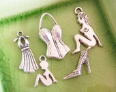 5 different silver sexy girlfriend pinup pin up charms Collection Set pendants corset stilettos high heels shoes halter dress gown - P0024-5