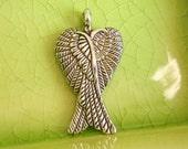 10 silver wings charms pendants angel archangel fly flying bird fairy fae bat vampire folded 29mm x 16mm - C01000-10