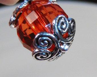 20 silver swirly hearts bead cap end swirl swirling filigree findings 12mm  - bulk - C0071-20