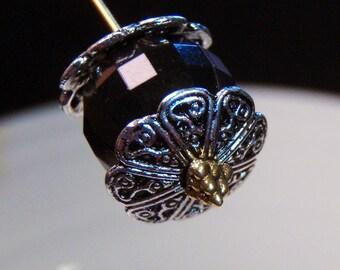 20 silver filigree flower bead cap end fancy findings 13mm - bulk - C0074-20